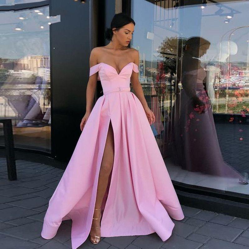 88e35d3540a04 Pink Satin Evening Gowns 2019 Sexy Off Shoulder Deep V Neck Prom Dresses  Custom Front Split Floor Length Women Formal Dress With Belt Halter Prom  Dress ...
