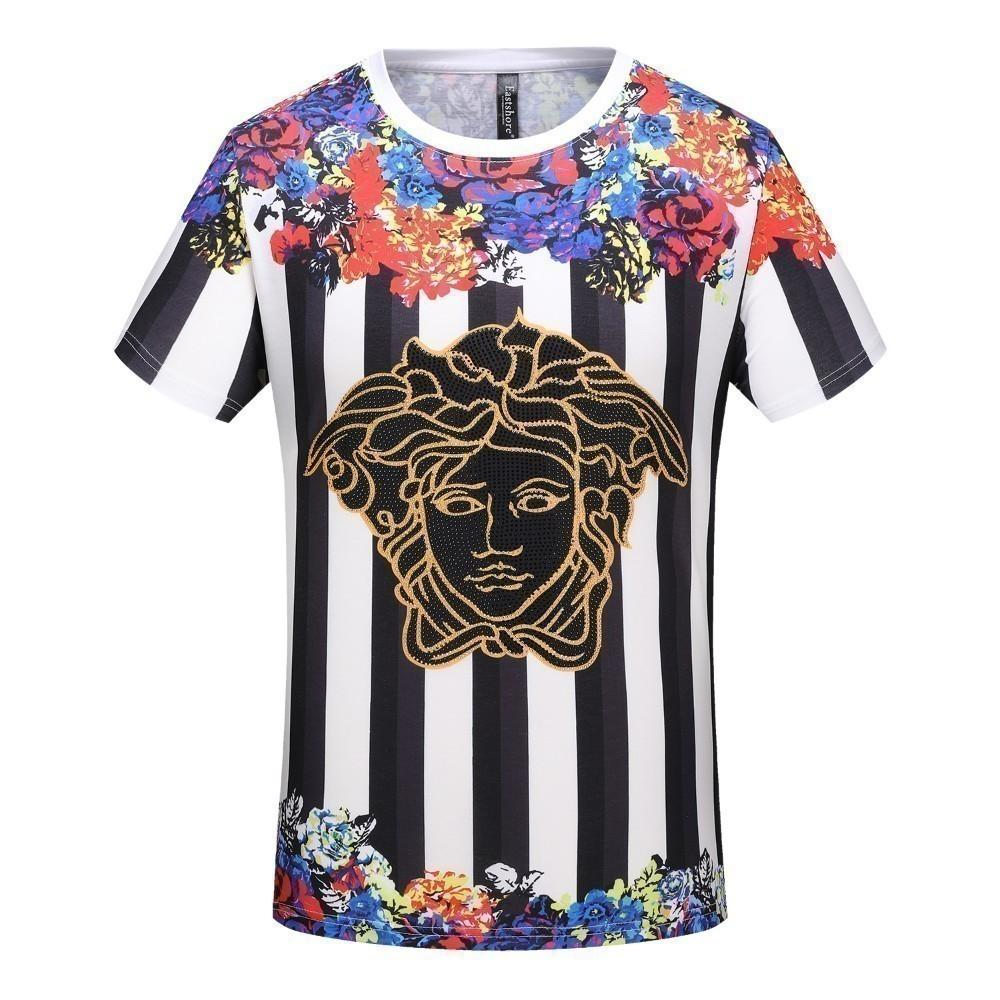 ef985bbfe2c681 SaleMen'S T Shirt New Contrast Color Floral Hot Drilling Head Pattern  Stitching Casual Trend Wild Fashion Summer Essentialo Best T Shirt Online  Buy Funky T ...
