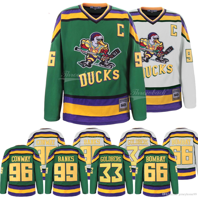 074fe4b7e Compre Duck Jersey Hockey Sobre Hielo 66 Gordon Bombay 96 Charlie Conway 99  Adam Banks 33 Greg Goldberg Jerseys Película Jersey Verde Tamaño S 3XL  Envío ...