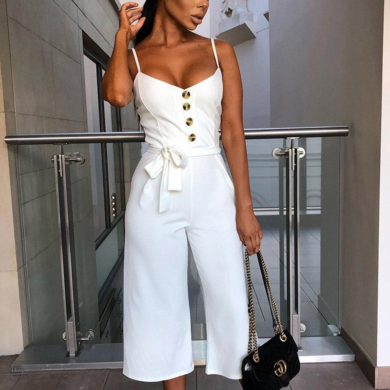 High Quality Summer Fashion Spaghetti Strap Sexy Slim Rompers Womens Jumpsuit Long Elegant Sleeveless High Waist Rompers Women