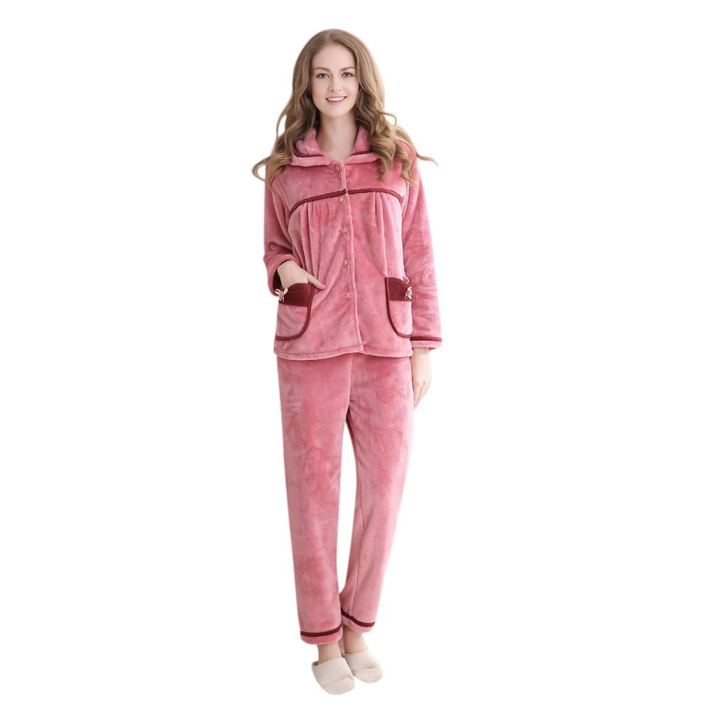 63a21948a248 2019 YOUYEDIAN Women Soft Comfortable Sleepwear Ladies Long Sleeve Velvet  Winter Warm Nightwear Female Satin Top Pants Set g25 From Oopp