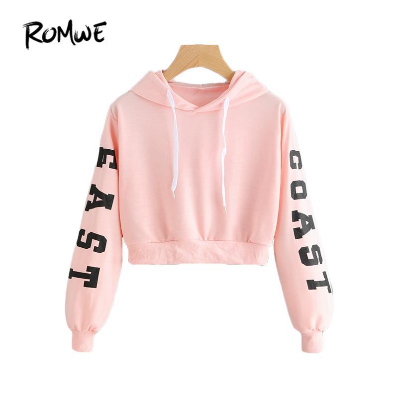 3e7c22edcbfbe 2019 Romwe Pink Cropped Hoodies Drawstring Kawaii Women Letters Print Long  Sleeve Hooded Sweatshirt 2018 Autumn Graphic Sweet Hoodies From Nancen