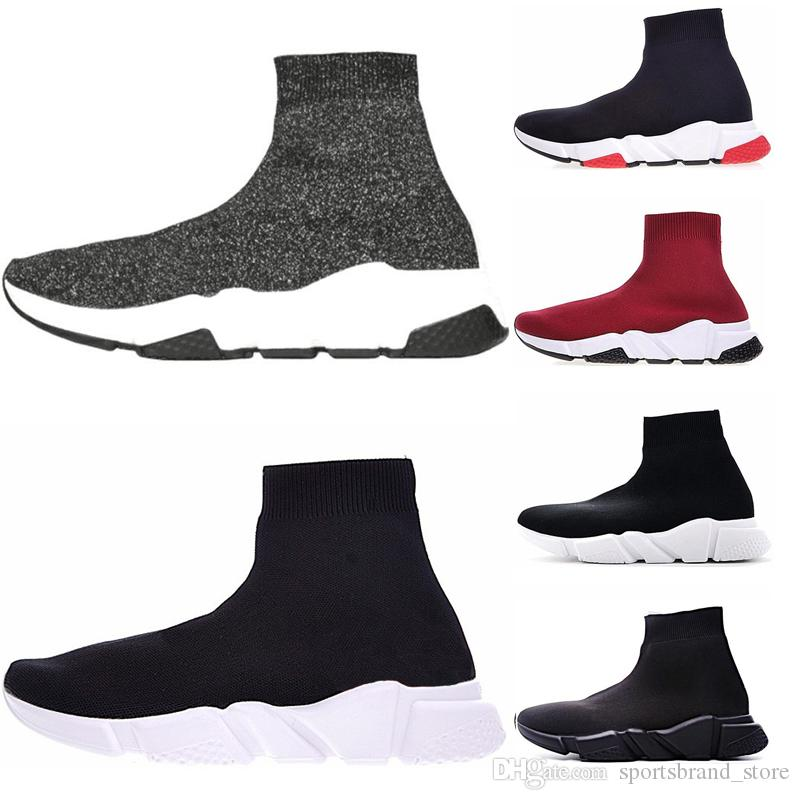 2019 Speed Casual Trainer Men Women High Sock Shoes Black Blue Red Solid Designer fashion Trainers Runner Outdoor Walking sneakers 36-45