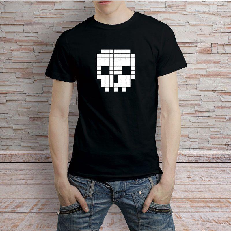 5d9b2d670 Retro Pixel Skull Tshirt Men'S Tee T Shirt O Neck Super Size 100%Cotton  Short Sleeve Man TShirt Summer Brand Clothing For Teenager Funniest T Shirt  Comical ...