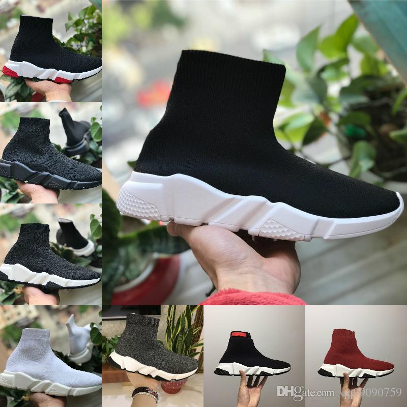 With box 2019 New Design Walking Speed Shoes Cheap Trainer Oreo Triple Black White Red Flat Fashion Socks Boot Men Women Casual Sneakers