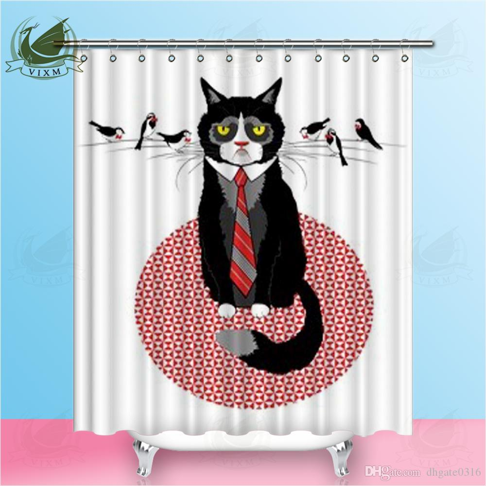 Vixm Cartoon Cute Cat Mustache On Bird Creative Funny Style Shower Curtains Waterproof Polyester Fabric Curtains For Home Decor