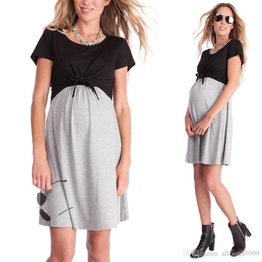 78228c291 Compre Moda 2019 Ropa De Maternidad De Enfermería Vestido De Algodón  Vestidos De Mamá Vestido De Enfermería De Manga Corta Homewear Negro Gris  Verano Al Por ...