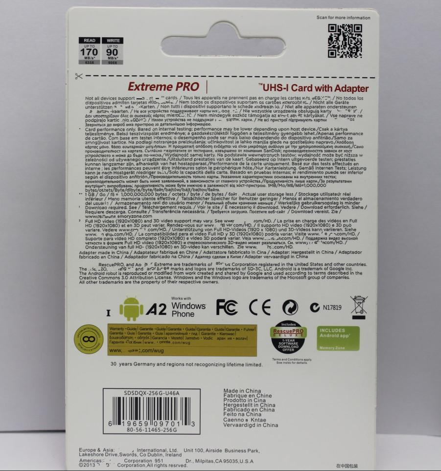핫 A2 안드로이드 전화 32기가바이트 64기가바이트 128기가바이트 클래스 10 마이크로 SD 카드 마이크로 256기가바이트 마이크로 TF 카드 DHL