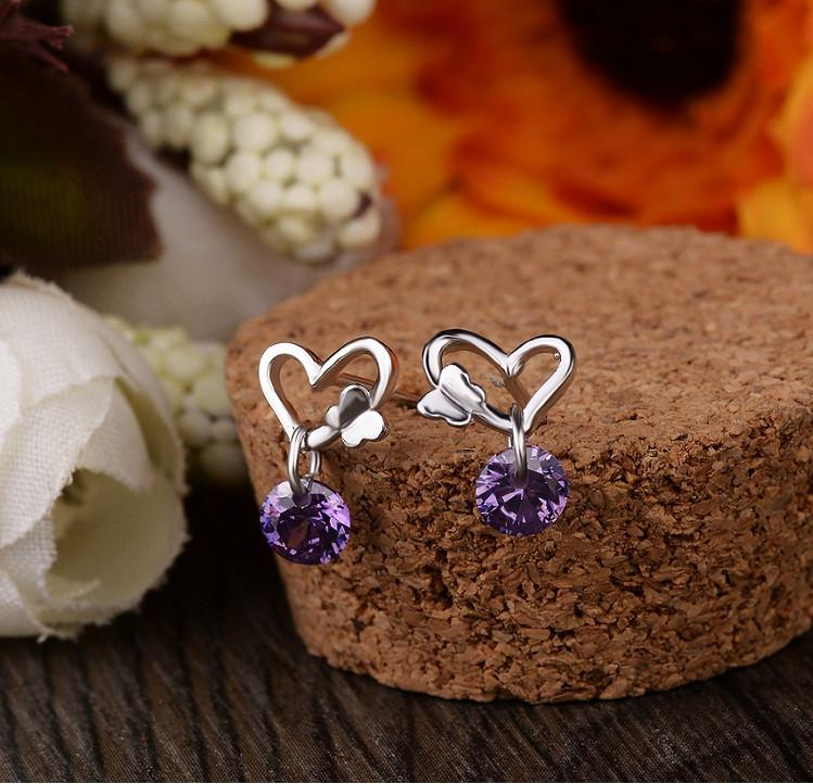 dangles earrings silver 925 women's jewelery heart love animal butterfly girls eardrop purple zirconia fashion causal classic 14x5mm 6 pairs