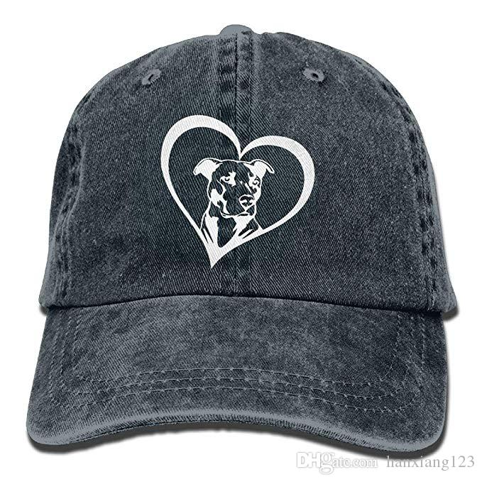 2019 New Custom Baseball Caps Print Hat Pit Bull Heart Mens Cotton Adjustable Washed Twill Baseball Cap Hat