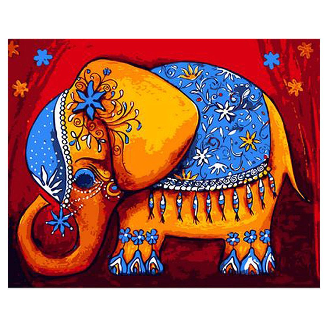 Diy Tiere Leinwand Gemälde Malen Nach Zahlen Mit Acrylfarben Pinsel Mit Oder Ohne Rahmen Für Erwachsene Anfänger Kinder Cartoon Elefant