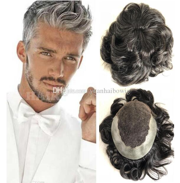 Q6 Toupee Lace Front Thin Skin Back and Side 1B Mix 30% Gray Indian Virgin Remy Hair Toupee for Old Men Free Shipping