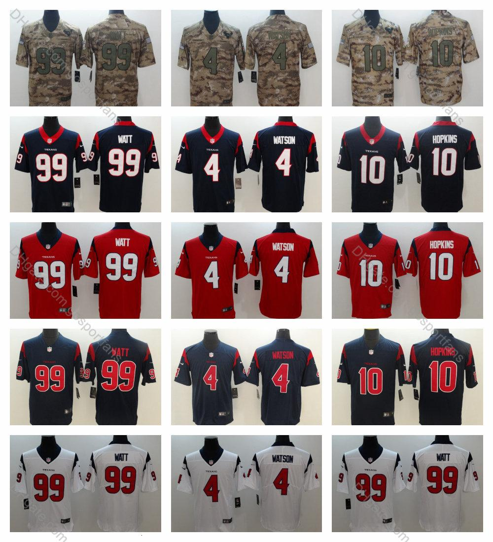the latest 9558e 76273 2019 Texans Deshaun Watson Jersey #4 Houston 99 J.J. Watt 10 DeAndre  Hopkins 2019 Camo Salute to Service Vapor Untouchable Football Jersey