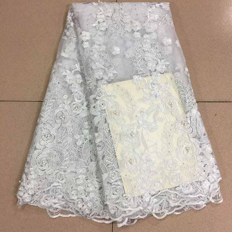 White Color 2019 African Lace Fabric Embroidered Nigerian Guipure French Swiss Voile Lace High-quality French Net Lace Fabric