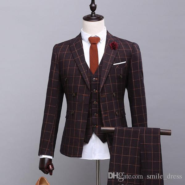 High quality Men Suits 3 Pieces Slim Fit Peaked Lapel Groomsmen Back Vent Wedding Best Man Suit Tuxedos (Jacket+Vest+Pants)