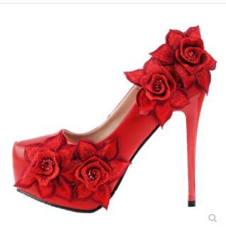 New Women's Dress Red Shoes With Flowers For Wedding Diamond Bridesmaid Stylish Pumps Platform Stiletto High Heels Ladies Shoes