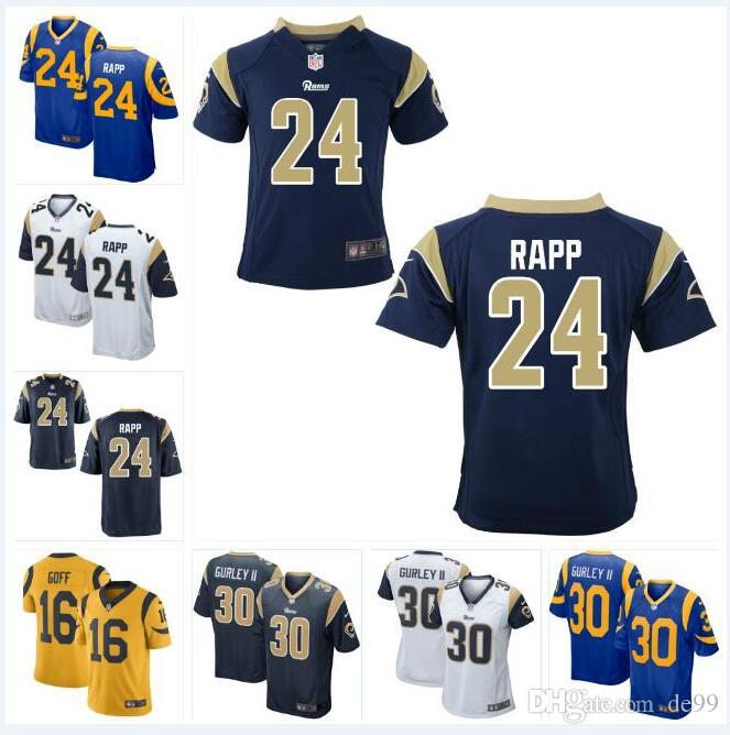 the best attitude f02ec a6dec #24 Taylor Rapp Rams Jersey Todd Gurley II Aaron Donald Jared Goff Darrell  Henderson David Long custom american football jerseys shirts 4xl