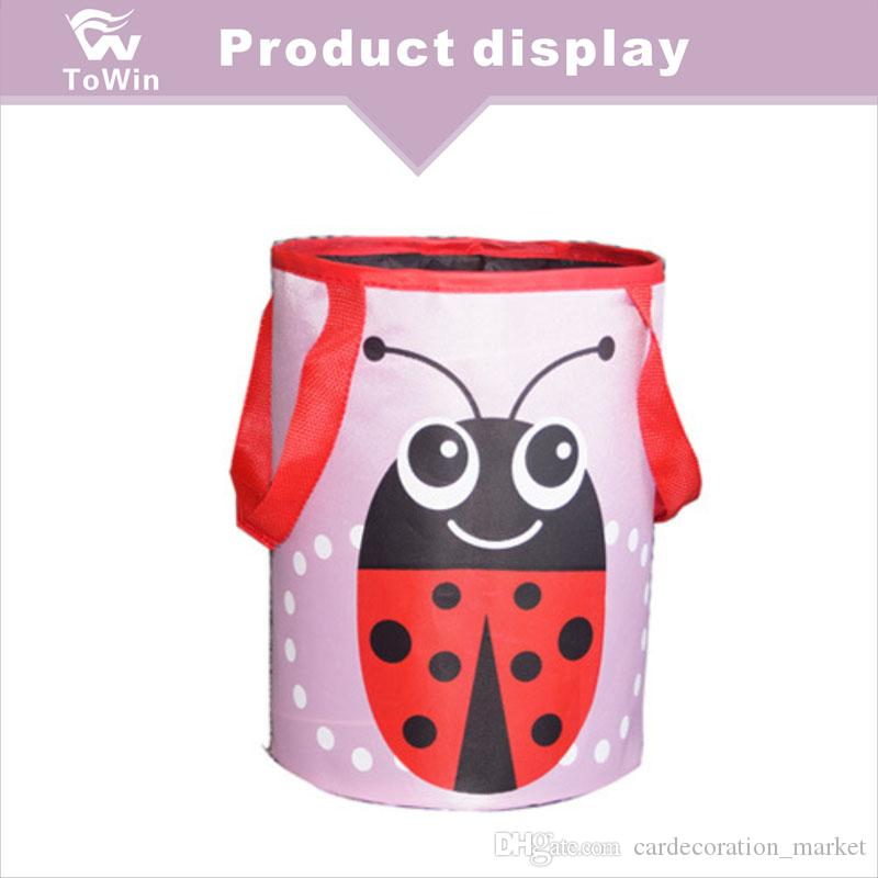 Portable Hanging Style Car Garbage Bag Cute Cartoon Ladybird Pattern Rubbish Can Mini Oxford Fabric Leakproof Trash Bin Mixed Wholesale 2019