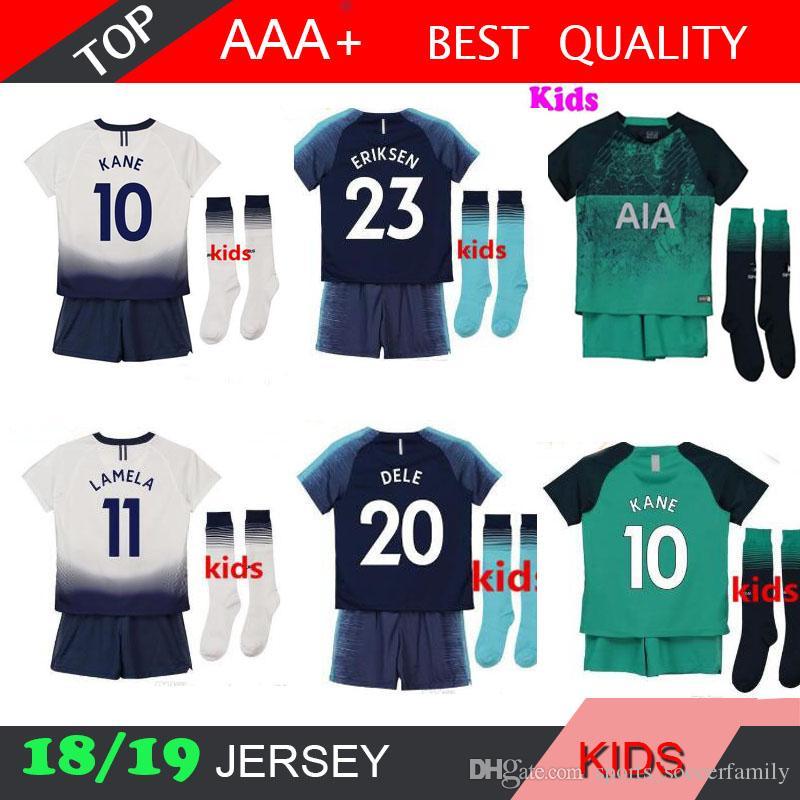 2019 18 19 Spurs Kids Home Soccer Jersey KIT SOCK 2018 2019 Spurs Dier Kane  Son Alderweireld Eriksen Dele Lamela HOME AWAY Child Football Shirt From ... 19eada32b