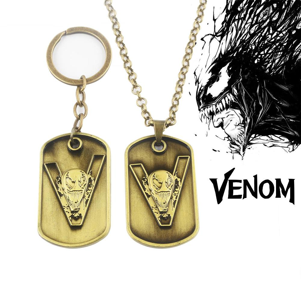 Venom metal Key ring toy necklace spiderman keychain metal pendant black halloween xmas gift Game Accessories toys