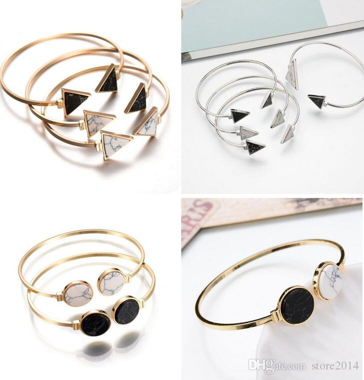 07256a8379b Fashion Stone Bangles Hot Gold Plate Black White Geometric Triangle Open  Cuff Punk Bracelet Bangle Faux Marble Stone Pulseras From India Rhinestone  Bangle ...