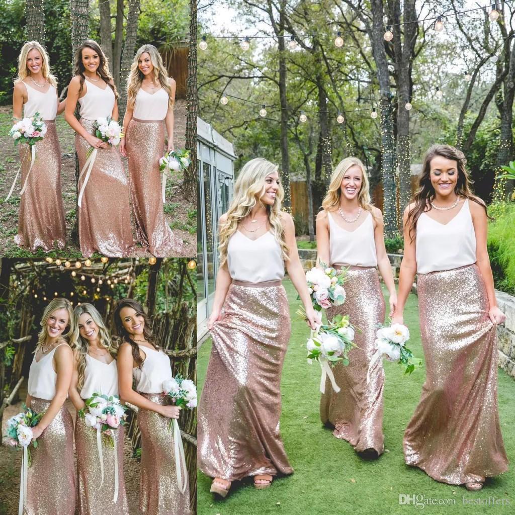 409ccb7ad9b97 Cheap Country Rose Gold Sequins maxi skirts 2019 white tops Bridesmaid  Dresses V-Neck Sleeveless Two Pieces Bohemian Boho Dress BC0177