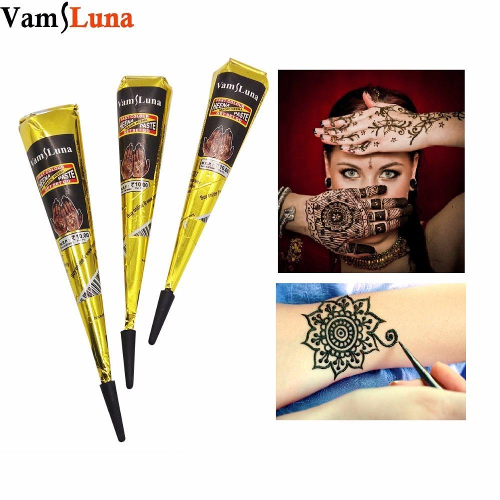 73f24e3c9 Tattoo Ink 3X Black Henna Cones Tattoo Ink Tube Natural Indian ...