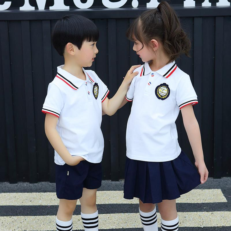 a5f344bb3bbd8 Summer school uniform children suit boys and girls short sleeve shirt  primary school class clothing British style