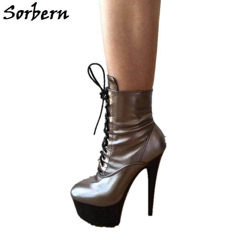 Sorbern Punk Metallic Ankle Boots 15Cm High Heel Shoes Platform Heeled Bling High Heels Girls Shoes Reflective Heels Boots