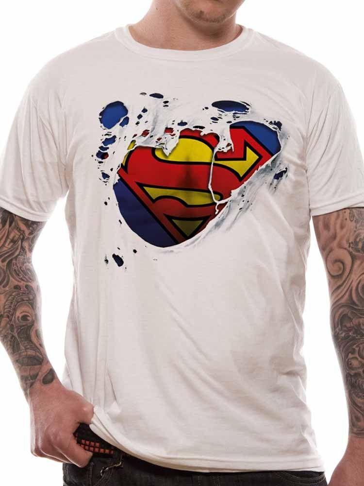 8c4b12ad9e Compre Superman Logo Camiseta Rasgada Clásico Oficial DC Comics Hombre De  Acero Camiseta Blanca Para Hombre Nuevo 2018 Moda De Verano De Manga Corta  Para ...