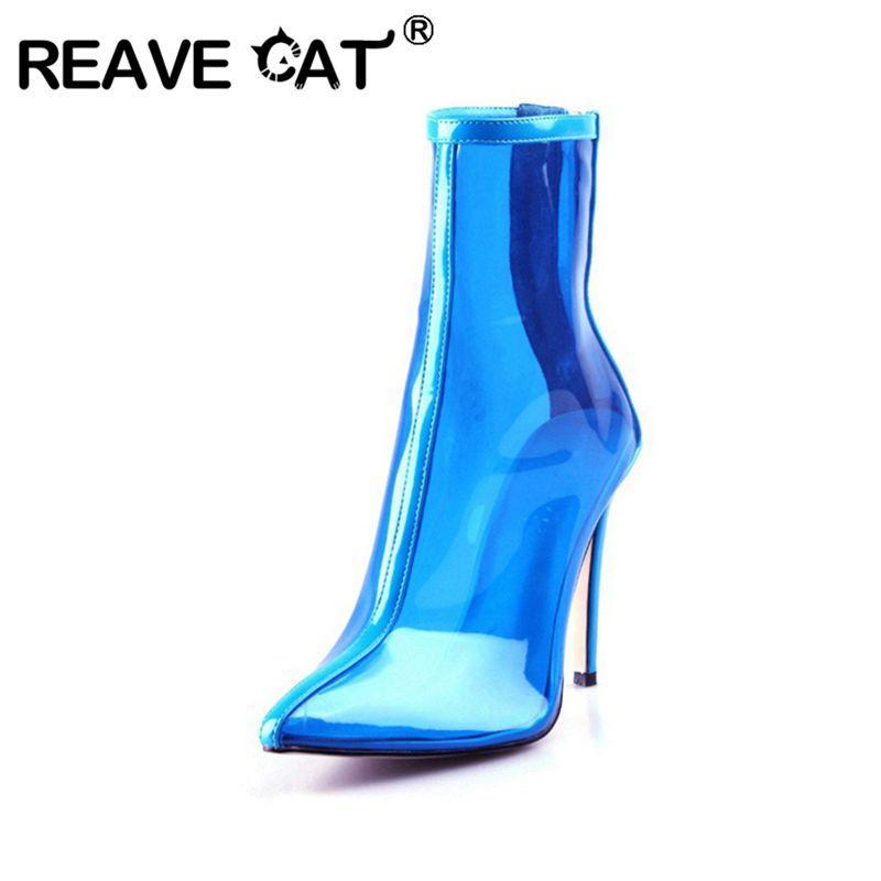 039a5f21 Compre REAVE CAT 2019 Verano Nuevas Mujeres Transparente Transparente  Botines De PVC Punta Estrecha Talón De Cristal Cremallera Candy Azul Verde  Botines A ...