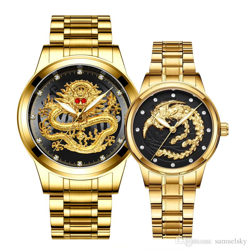 2 pcs luxury diamonds Couple watches golden Dragon Phoenix stainless steel watch for men and women fashion lovers gift clock quartz