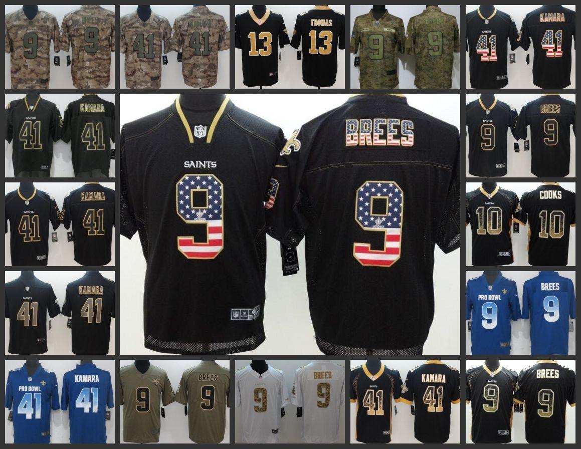 on sale 11a82 9c6c4 New Orleans Embroidery Saints Men Jersey #9 Drew Brees 13 Michael Thomas 10  Brandin Cooks 41 Alvin Kamara Women Youth Football Jerseys
