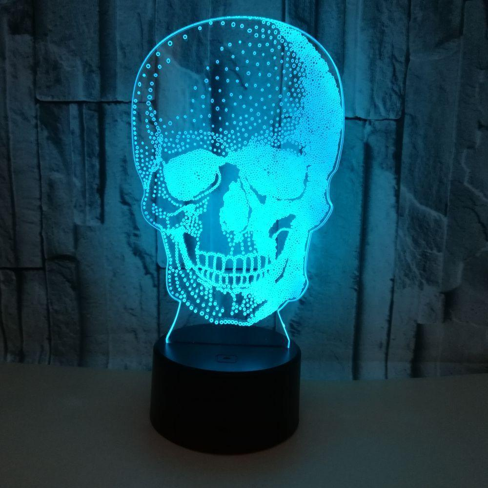 Trade New Pattern Human Skeleton Head 3d Small Night-light Colorful Touch Remote Control Lamp Halloween Gift Atmosphere 3d Small Desk Lamp