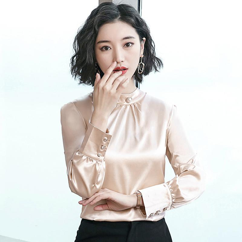 7f3c468cd60842 2019 Women Blouse Shirts Office Lady Shirt For Women Casual Silk Tops And Blouse  Plus Size Woman Elegant Long Sleeve Blouses Clothing From Ziron