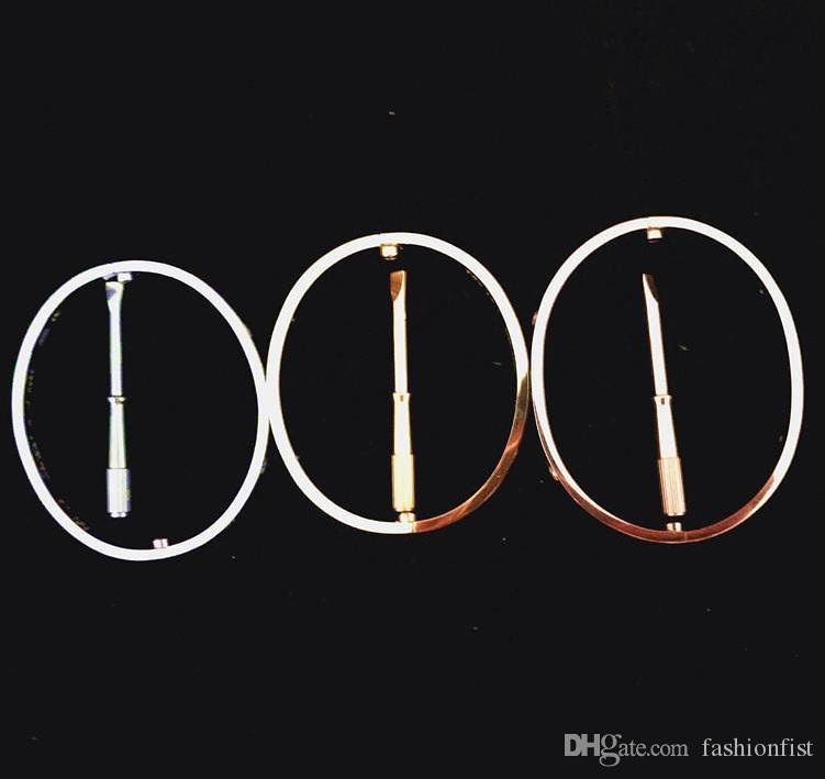 Titanium Steel Love Bracelet en argent or rose Bracelets Femmes Hommes Tournevis Tournevis Bracelet Couple Bijoux avec coffret d'origine