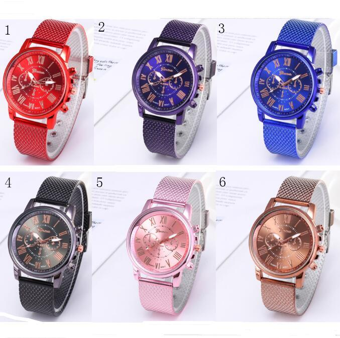 Women Men GENEVA watch Mesh Belt Quartz Waist watches Luxury Brand Dual Colors Strape Watch for Casual Sports Business Style Fashion 2019