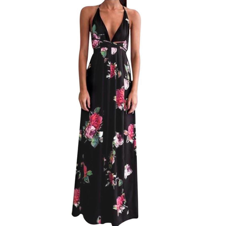 f19037d998e Floral Long Maxi Dress Womens Deep V Neck Halter Sleeveless Party Dresses  Summer Backless Split Bandage Beach Sundress  10 Buy Women Dress Floral  Dresses ...