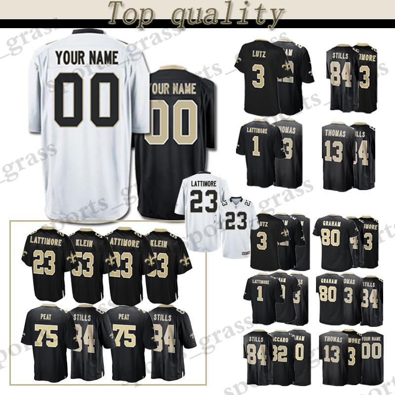 super popular 65a83 64cbe custom Game New Orleans Saints Jersey 13 Michael Thomas 23 Marshon  Lattimore 84 Kenny Stills 80 Jimmy Graham 32 Kenny Vaccaro Jerseys men