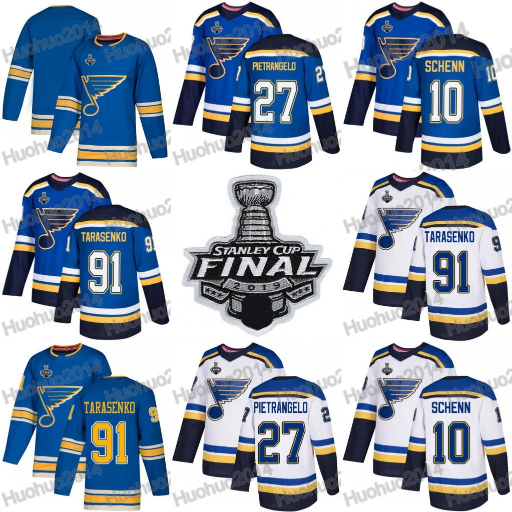 St. Louis Blues Finale de la Coupe Stanley 2019 91 Vladimir Tarasenko 27 Chandails Alex Pietrangelo 10 Chandails de hockey Brayden Schenn