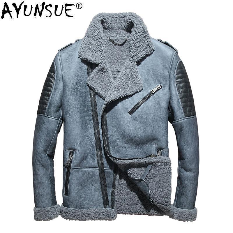 buy popular d31b8 458c8 AYUNSUE herren Lederjacke Winter Echtes Leder Echtem Schaffell Mantel für  Männer Natürliche Wolle Pelzmantel Blouson Cuir Homme KJ1414