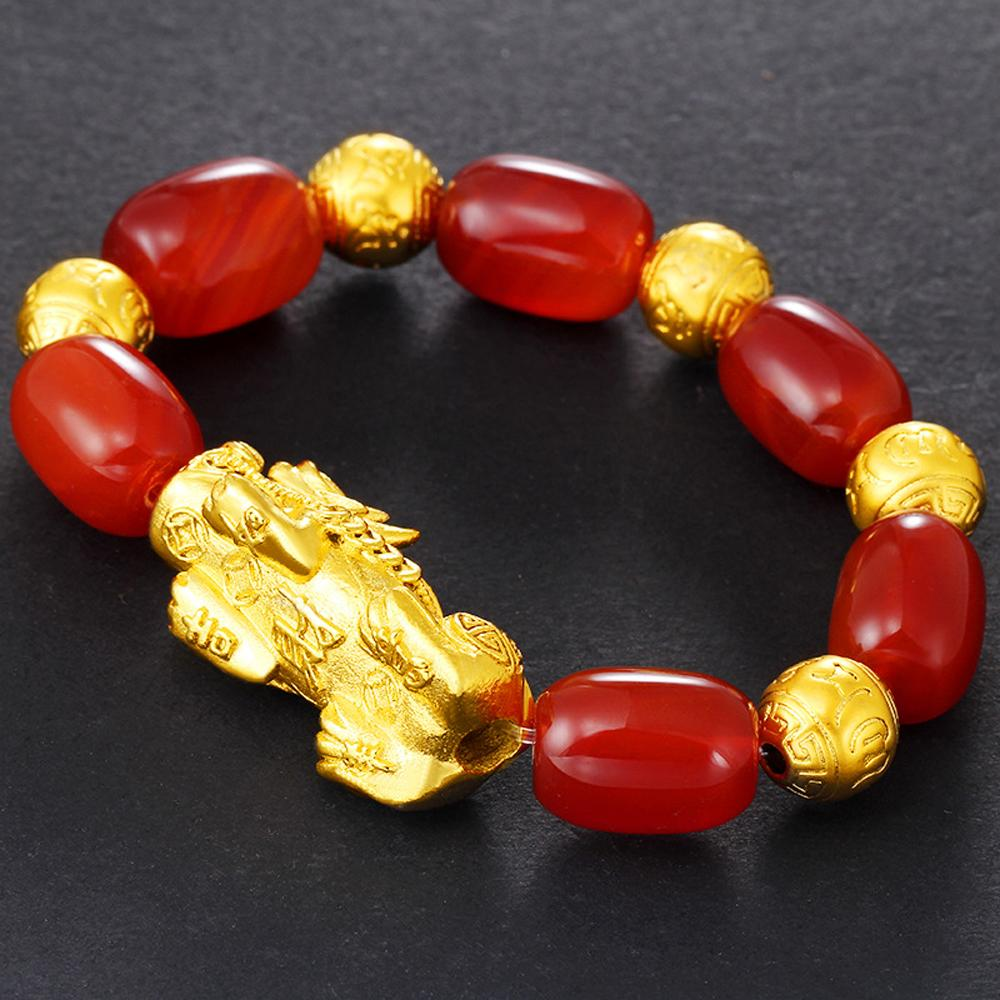 Vietnam Gold-plated Pixiu Hand Chain Red Agate Beaded Bracelet Mascot Lucky Women Jewelry
