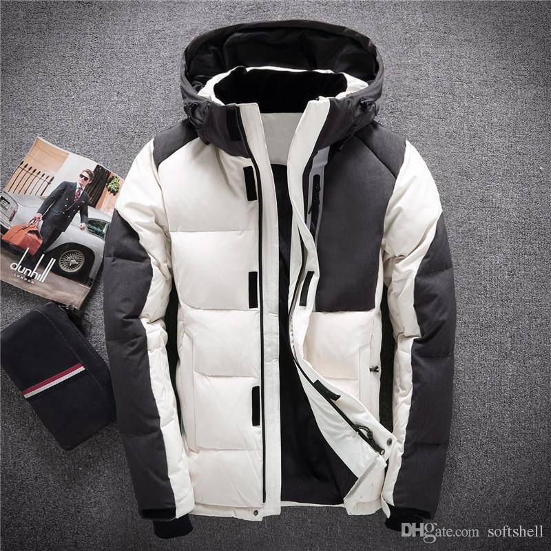9dd4a70d7 Nueva llegada de los hombres chaqueta de invierno parkas pato blanco de los  hombres abajo del norte abrigos trazador de líneas desmontable gruesa ...