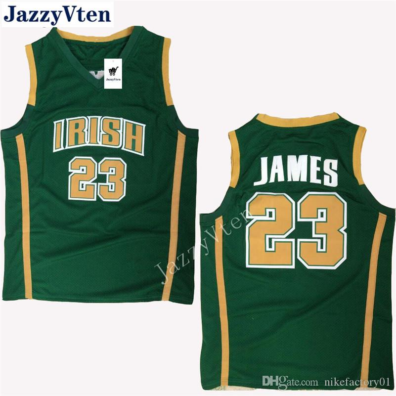 outlet store 0d6fd 76965 Free shipping IRISH HIGH SCHOOL #23 Lebron James Stitched Jerseys High  Quality Embroidery Men Sportwear Shirt college wears hot sell