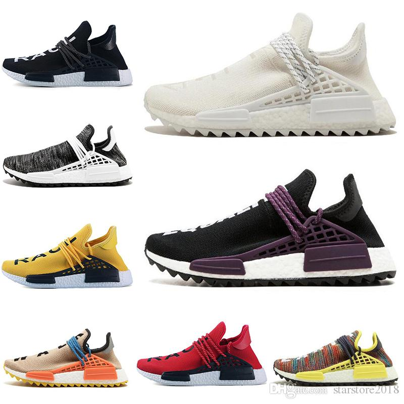 newest collection e6dc4 67f94 Adidas NMD Boost Human Race 2019 Raza Humana Hu Trail X Pharrell Williams  Nerd Hombres Zapatillas Blancas Negro Amarillo Encaje Igualdad Formadores  De ...