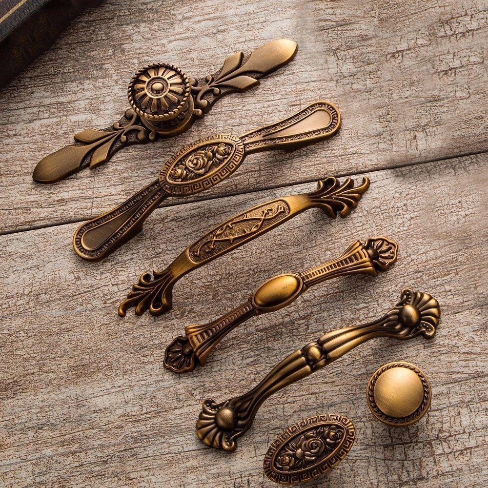 2019 Yellow Bronze Door Handles Noble Antique Drawer Pulls Vintage Kitchen  Cabinet Handles And Knobs Retro Furniture Handles From Jmqj66, $4.51 |  DHgate.Com - 2019 Yellow Bronze Door Handles Noble Antique Drawer Pulls Vintage