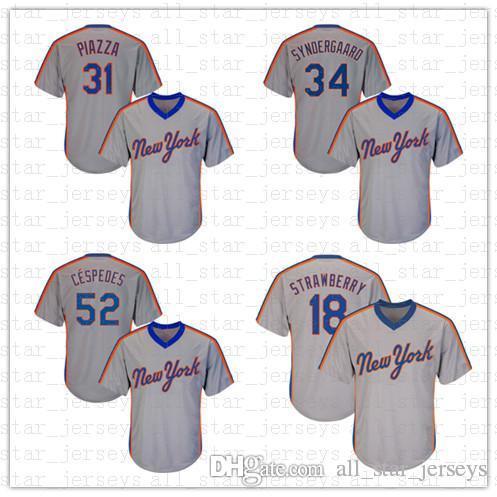 timeless design 45e80 a4ec0 Mens 16 Dwight Gooden 17 Keith Hernandez 18 Darryl Strawberry Baseball  Jersey Mets 34 Syndergaard 52 Yoenis Cespedes deGrom Conforto Jersey