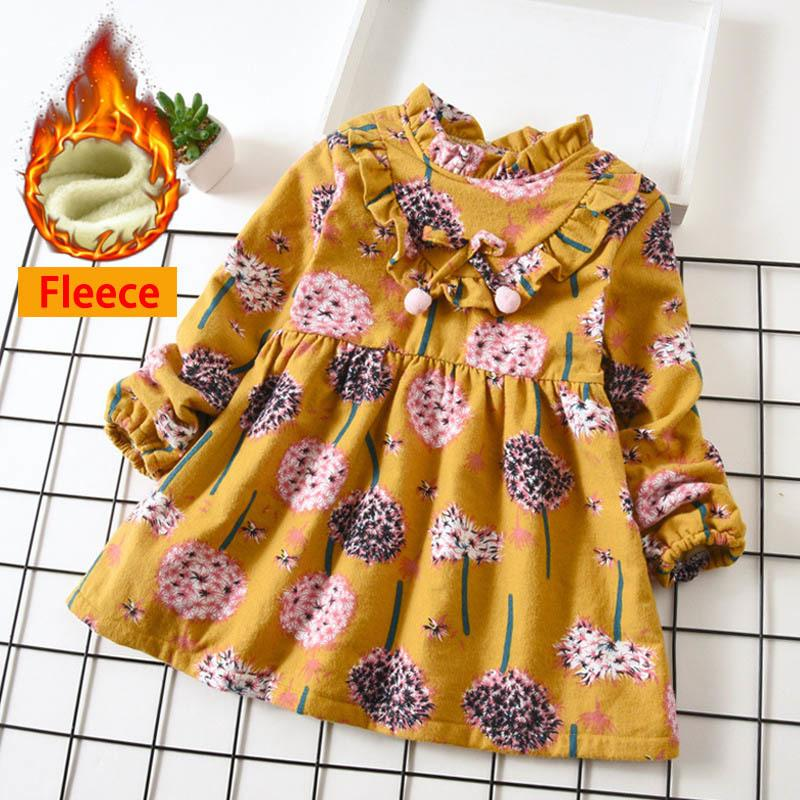 adbca22b4509 2019 Girls Floral Dress Autumn Winter Child Thicken Fleece Clothes Little  Girls Party Dresses Long Sleeve Princess Costume For Kids From Xiaocao04,  ...