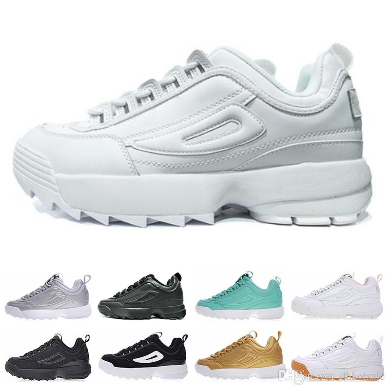 ec84743fc8add Compre FILA Disruptor 2 II Disruptores II 2 Mulheres Homens Preto Branco  Rosa Ouro Seção Especial Sapatilha Esportes Sapatos Aumento Clássico Casual  Wear ...