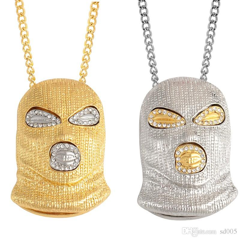 HIP HOP Necklace Gold And Silver Counter Terrorism Headgear Mask Metal Pendant Necklaces For Men Women Fashion Jewelry 5 4mh UU
